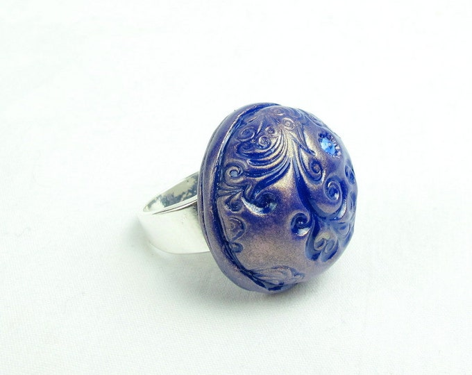 Hand Sculpted Navy Blue Polymer Clay  Swarovski Crystal Size 8.75 Ring