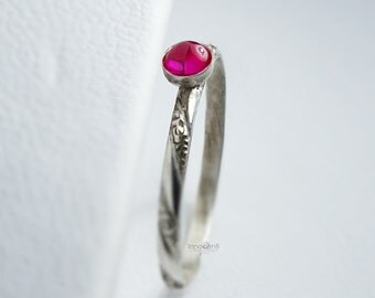 Ruby Ring Dainty Ruby Ring Ruby Stack Ring Silver Ruby Ring July Birthstone Ring Ruby Stacker Pink Gemstone Ring Ruby Engagement Ring