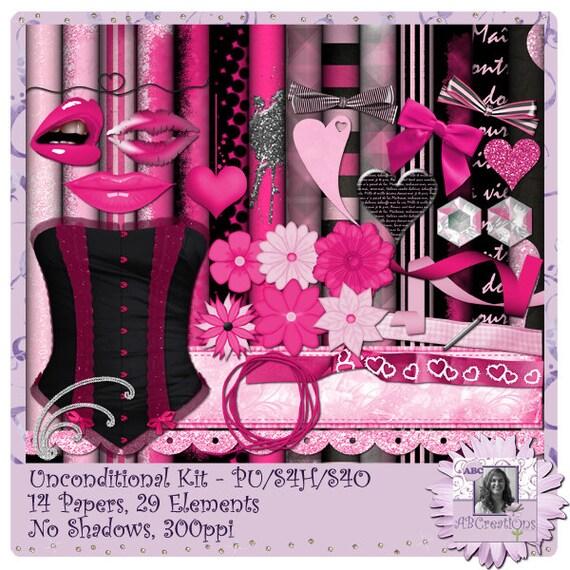 Unconditional, Valentine, Anniversary, Digital Scrapbooking kit, digiscrap, scrapbook, paper crafting, card making, page kit, valentines day