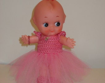"Kewpie Doll in Pink Puff Tutu Dress 8"""