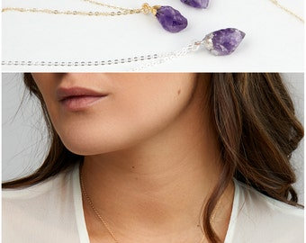 Raw Amethyst Necklace With Personalized Initial Gold Tag, Crystal Necklace, Bridesmaid Necklace, Gold Fill, Rose Gold, Sterling Silver -B18