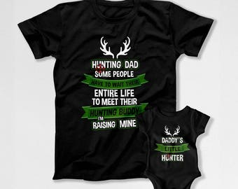 Dad And Son Shirts Matching T Shirts Father And Baby Gift Daddy And Me Outfits Fathers Day Hunting Daddy's Little Hunter Bodysuit DN-748-749