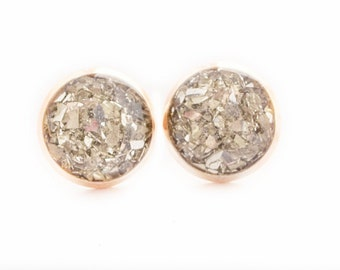 Silver Crushed Glass on Rose Gold Earrings / 10mm Rose Gold Stud Earrings / Cute Handmade Silver Jewelry /