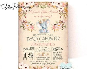 Little Peanut Girl Elephant Baby Shower Invitations Baby Shower Invitation Girl Invite // Printable OR Printed No.1474BABY