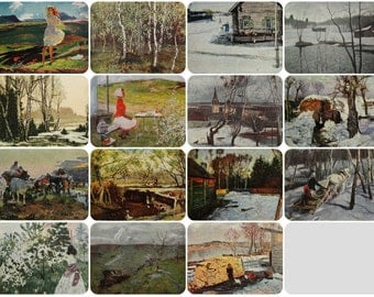 Spring Landscapes - Set of 15 Vintage Soviet Postcards - Printed in the Soviet Union 1950s-1980s. Nature, Trees, Forest, Melting Snow