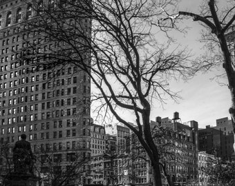 New York City Flatiron Building,Streets, Black and white Print, Large Wall Art Photography, NYC, New York City, Skyscrapers Landmark