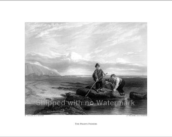 THE PRAWN FISHERS Engraving Reproduction by W. Collins R.A. museum quality giclée print available in 3 sizes