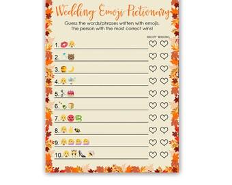 Fall Wedding Emoji Pictionary Game - Fall Bridal Shower Emoji Game - Fall in Love Bridal Shower - Instant Download Bridal-105