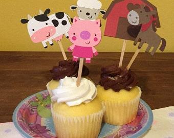 14 Farmer Animals Cupcake Toppers, Birthday cupcake toppers, cake toppers