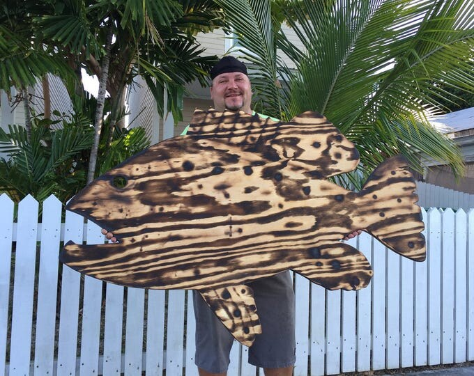 Large Wall Fish Decor Outdoor Wall Art, Goliath Grouper Sign. Fisherman's Gift Idea.