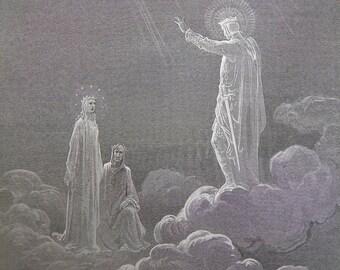 Dante's Paradise by Gustave Dore Antique Print circa 1880 (102)