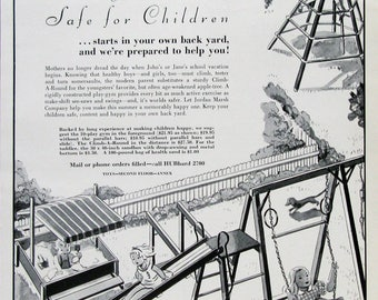 1933 Jordan Marsh Ad - Children's Playground Art - Slide, Monkey Bars, Jungle Gym, Climb-A-Round - 1930s Outdoor Playset Ideas