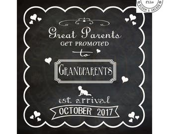 Baby announcement, grandparents, new baby, chalkboard art, chalkboard, digital download, baby, personalized, new parents, nursery decor