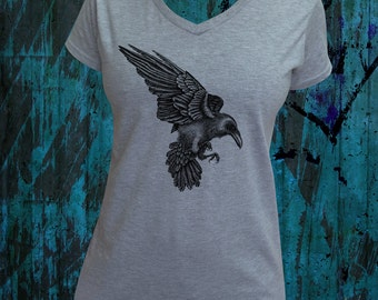 Raven t-shirt. Grey v-neck ladies t-shirt. Hand designed screen printed t-shirt. Raven artwork tee. Black crow tshirt.