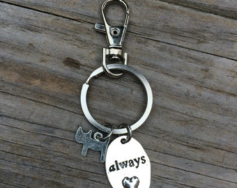 Cat Love Charm Keychain, Love Always Keychain, Pet Charm Keychain, Cat Keychain, gifts for her