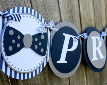 Little Man Baby Shower Banner - Bow Tie Baby Banner - Boy Baby Shower - Navy Baby