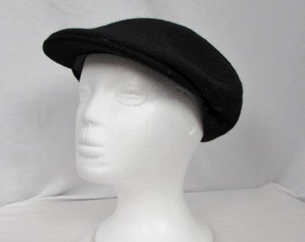 Jonathan Richard 100% Wool Black Motoring Driving Cap Fixed Brim sz 6 3/4