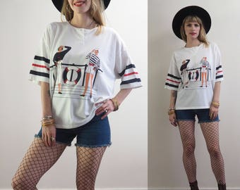 vintage 80's nautical themed ringer polo neck oversized t~shirt // kawaii grunge kitsch retro