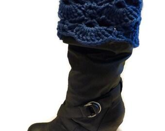 Boot Cuffs, Blue Crochet Scallop Boot Cuffs, Boot Toppers, Fold Over Boot Cuffs