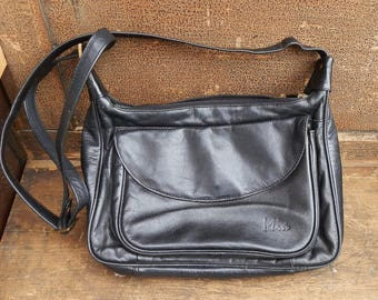 Vintage MIA Black Leather Cross-Body Messenger Shoulder Bag / Purse