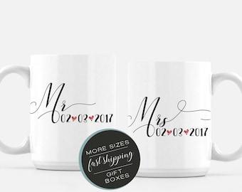 Engagement Mug Set - Mr and Mrs - Engagement Mug - Customizable