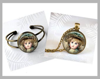 Antique Doll Necklace, Photo Image Jewelry, Antique Doll Photo,  Glass Cabochon Jewlery, Gift for doll Collector, Doll Collecting