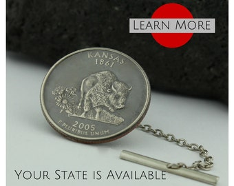 Kansas tie tacks - A unique handmade Bison/Buffalo tie tack using the Kansas State Quarter.  A perfect tie tack, lapel or brooch pin,