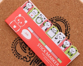 Panda Sticky Note Set - Red (15 Sheets x 8 pcs) Korean Stationery Funny Sticky Notes Post It Note
