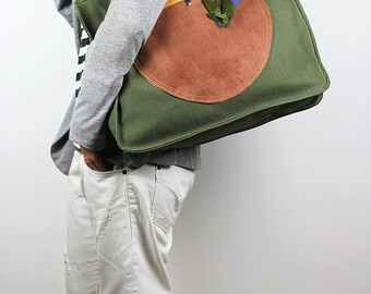 Oversized Tote Bag Canvas & Leather/ Weekender Bag/Military Canvas Shoulder Bag with Exterior Leather Pocket/Large Carry All – ZebiliECL13