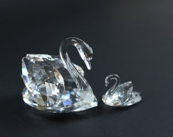 "Vintage Swarovski Swans mother and Cygnet 2"" crystal swan bird"