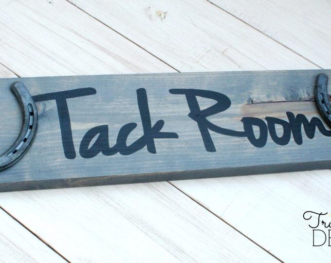 Tack Room Barn Sign - Stable Sign - Font A, rustic, horseshoe sign, rustic horse decor, barn wood, cabin, farmhouse, True Destiny, TDD17-1A