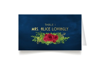 The ALICE . Place Cards . Red Rose Garland Art Deco 1920s Gold & Navy Military Nautical . Wedding Seating Escort Tent Name Cards . Printed
