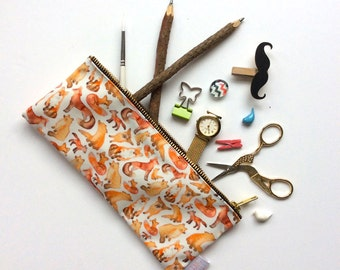 Fox Pencil Case, Woodland, Pencil Case, Fox, Forest Animal, Pencil Pouch, Make Up Bag, Cosmetic Bag, Bag, pencil bag, organiser, small bag,