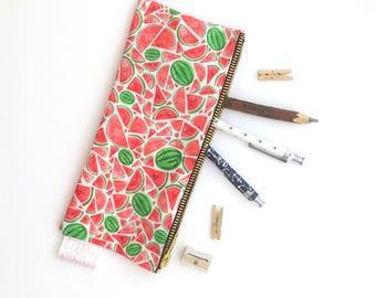Watermelon, Pencil Case, Summer, Melon, Pencil Pouch, Pouch, Zipper Pouch, Bag, Cosmetic, pencil bag, cute pencil case, organiser, storage,