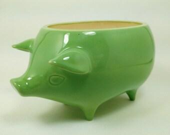 Mexican Pig Planter - Ceramic Handmade - Green Gloss Glaze - Retro 1960's Style - Ready to Ship