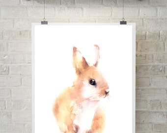 Bunny wall print,  Watercolor painting of bunny, Rabbit art, nursery art, wall art, watercolor print
