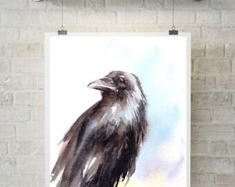 Raven Art Print, Watercolor Painting Art Print, raven painting, art print of bird, wall art