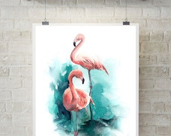 Flamingos art print, Watercolor Painting of flamingo, watercolor print, bird painting, pink flamingo, modern print, wall art