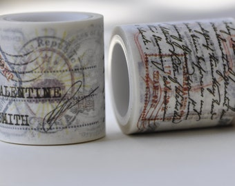 Retro Postmark Washi Tape /Japanese Masking Tape/ Deco Tape  40mm wide x 5m long (1.6 inches X5.5 yards) No. 12090