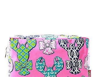 Lobster Print Monogrammed Cosmetic Case Toiletry  Bag