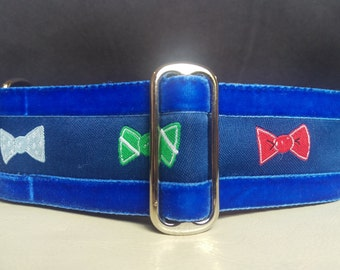 "Martingale Collar - Whippet, and small to medium dog - 1.5"" width - Dapper Bows with velvet"