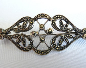 Art Nouveau Marcasite Brooch with Trombone Clasp