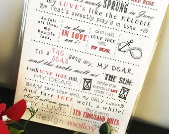 Robert Burns Poem Print - A Red Red Rose Poem Print - Robbie Burns - Wedding Poem - Love Poem - Valentine's Day Poem - Typography Print