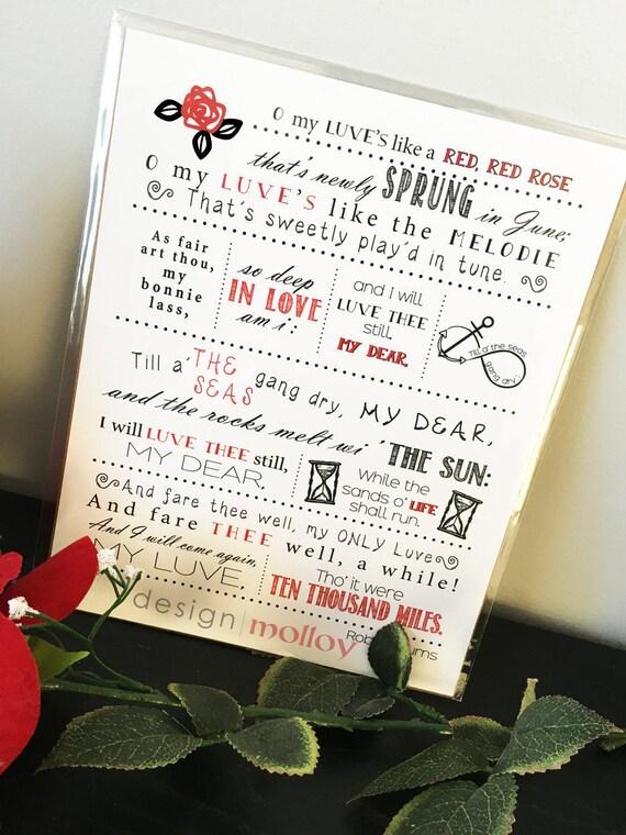 Robert Burns Poem Print A Red Red Rose Poem Print Robbie