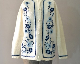 Embroidered Sweater Womens Cardigan Blue Floral Medium