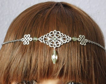 Pagan Wicca Celtic Green Circlet Headdress Necklace