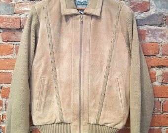 Vintage Suede Sweater Knit Coat by Outdoor Exchange Medium/Small