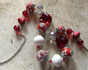 Red Necklace, Glass Beaded Necklace, Beadwork Necklace, Statement Necklace, Gift For Her