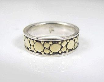 john hardy ring 18k yellow gold dots sterling silver band john hardy dot collection
