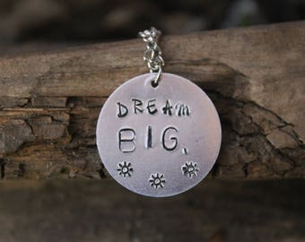 Dream Stamped Metal Necklace/ Custom Stamped Necklace/ Dream Necklace/ Dream Jewelry/Boho Custom Jewelry/Stamped Metal Jewelry/Inspirational